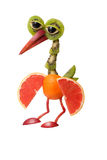 Funny heron made of fruits Stock Images