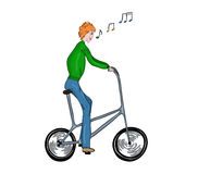 Funny high bicyclist. Royalty Free Stock Photo