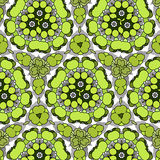 Funny hilarious, amusing pattern with bright circles. natural green background. Royalty Free Stock Photos