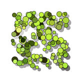 Funny hilarious, amusing pattern with bright circles. natural green background. Royalty Free Stock Photography