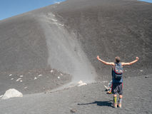 Funny hill running at the Volcano Cerro Negro Royalty Free Stock Photo