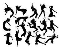 Funny Hip Hop Dancer Silhouettes Stock Photography