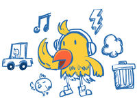 Funny hip-hop style yellow bird Stock Photos
