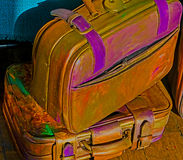 Funny hippie suitcases Royalty Free Stock Photos