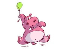 Funny Hippo. An illustrated cartoon of a funny pink hippo hanging on a pink balloon, isolated on white background Royalty Free Stock Photography