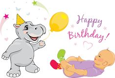 Funny hippo congratulates the baby on his birthday. Illustration Royalty Free Stock Images
