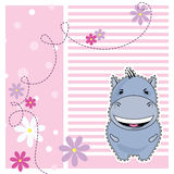 Funny Hippo, greeting card, vector Stock Photography