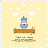 Funny Hippo, greeting card, vector Royalty Free Stock Photo
