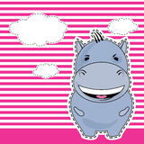 Funny Hippo, greeting card, vector Royalty Free Stock Photos