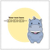 Funny Hippo, greeting card, vector Stock Photo