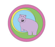 Funny hippo. Illustration with funny hippo, hippo in circles Stock Photos