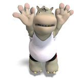 Funny hippo plays volleyball Royalty Free Stock Photo