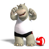 Funny hippo plays volleyball. Rendering of a hippo who plays volleyball.  With Clipping Path Royalty Free Stock Image