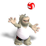Funny hippo plays volleyball. Rendering of a hippo who plays volleyball.  With Clipping Path Royalty Free Stock Photos