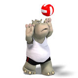 Funny hippo plays volleyball Stock Photo