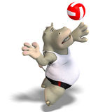 Funny hippo plays volleyball Stock Images