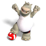 Funny hippo plays volleyball Royalty Free Stock Photos