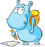 Funny hippo with school bag and crayon drawing - vector Royalty Free Stock Images