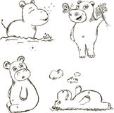 Funny Hippo. Small Set of Illustrations About Hippo Royalty Free Stock Photo