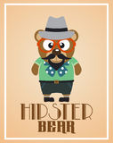 Funny Hipster Bear Royalty Free Stock Photography