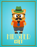 Funny hipster cat Stock Images