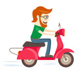 Funny hipster character riding red scooter Stock Photos