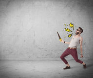 Funny hipster in fashion clothing shouting. An angry hipster guy in casual clothes shouting heavily with drawn thunder sign illustration concept Royalty Free Stock Photo