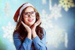 Funny hipster girl in supersize eyeglasses wearing Royalty Free Stock Image