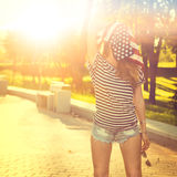 Funny Hipster Girl with USA Flag on her Head Royalty Free Stock Images
