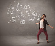 Funny hipster guy shouting drawn items Royalty Free Stock Image