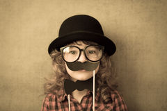 Funny hipster kid Stock Photography