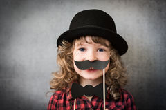 Funny hipster kid Stock Photo