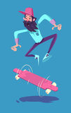 Funny hipster on longboard character.  Royalty Free Stock Photo