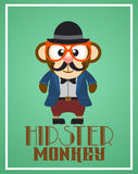 Funny hipster monkey Royalty Free Stock Photos