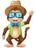 Funny hipster monkey waving Royalty Free Stock Photos