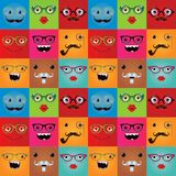 Funny hipster monster faces seamless background Royalty Free Stock Photo