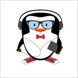 Funny hipster penguin with glasses Royalty Free Stock Images