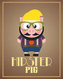 Funny hipster pig Royalty Free Stock Photo