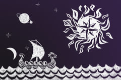 Funny history chalk drawing of Viking ship and stylized compass Royalty Free Stock Photography