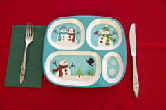 Funny Holiday Children Christmas Table Place Setting Stock Images