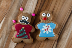 Funny holiday gingerbread cookies Stock Images