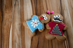 Funny holiday gingerbread cookies Royalty Free Stock Photos