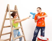 Funny home renovation Stock Image
