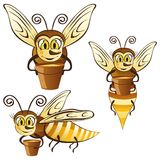 Funny honey bees with a bucket of honey Royalty Free Stock Images