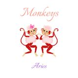Funny horoscope with cute monkeys. Zodiac signs. Aries. Royalty Free Stock Photo