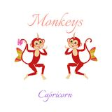 Funny horoscope with cute monkeys. Zodiac signs. Capricorn. Royalty Free Stock Photos