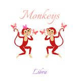 Funny horoscope with cute monkeys. Zodiac signs. Libra. Royalty Free Stock Photos