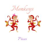 Funny horoscope with cute monkeys. Zodiac signs. Pisces. Royalty Free Stock Photo