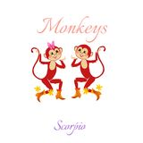 Funny horoscope with cute monkeys. Zodiac signs. Scorpio. Stock Photo