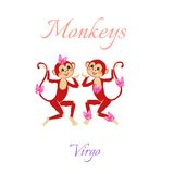 Funny horoscope with cute monkeys. Zodiac signs. Virgo. Royalty Free Stock Photos